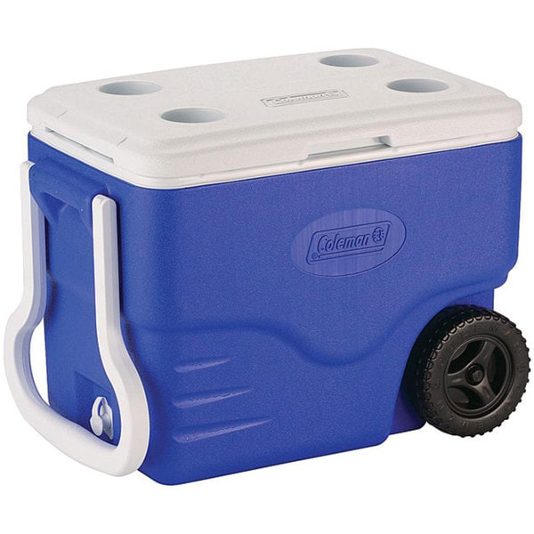 Coleman Blue 40-quart Wheeled Cooler. Opens flyout.