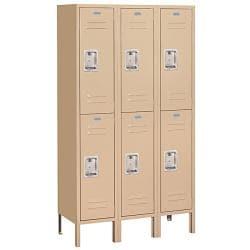 "Salsbury Industries Tan Double-Tier Standard Lockers (15"" Deep) - Thumbnail 0"