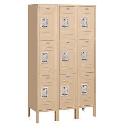 Salsbury Industries Tan Steel Triple-Tier Standard Storage Lockers