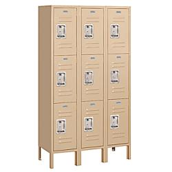 Salsbury Industries Tan Steel Vented Triple-Tier Standard Storage Lockers - Thumbnail 1