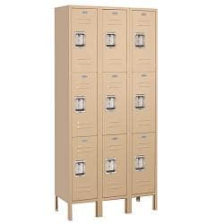 Salsbury Industries Tan Triple-Wide Triple-Tier Standard Lockers