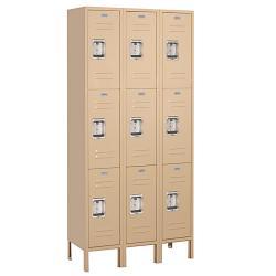 Salsbury Industries Tan Triple-Wide Triple-Tier Standard Lockers