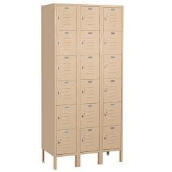 "Salsbury Industries Tan Box-Style Standard 16-Gauge Steel Lockers (36"" x 78"" x 18"")"
