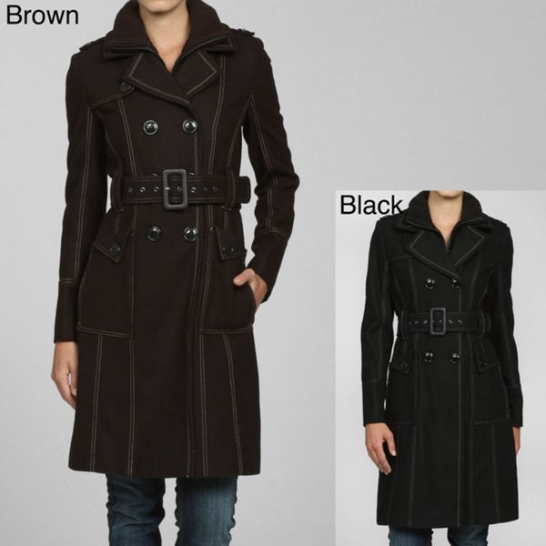 Miss Sixty Women's Wool Top Stich Trench Coat With Knit Trim