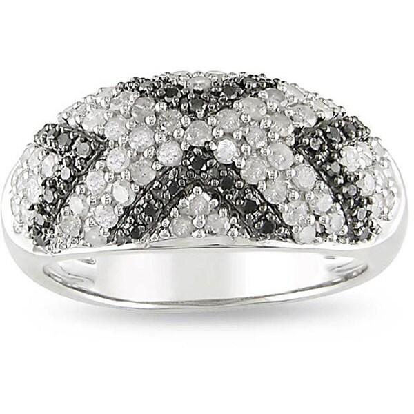 Miadora Sterling Silver 1ct TDW Diamond 'X' Ring (I-J, I3)