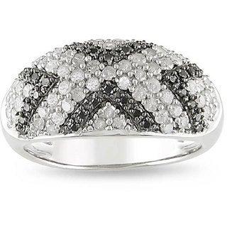 Miadora Sterling Silver 1ct TDW Diamond 'X' Ring