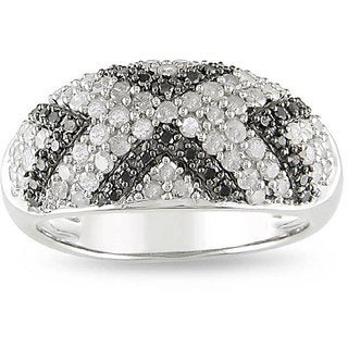 Miadora Sterling Silver 1ct TDW Diamond 'X' Ring