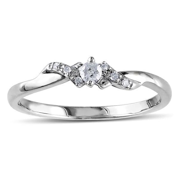 Miadora 10k White Gold 1/10ct Diamond Twist Ring
