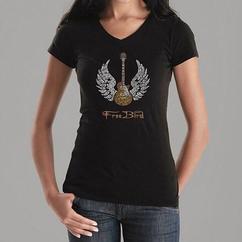 Los Angeles Pop Art Women's 'Freebird' V-neck Shirt