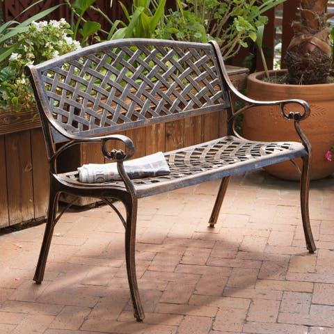 Cozumel Copper Cast Aluminum Bench by Christopher Knight Home