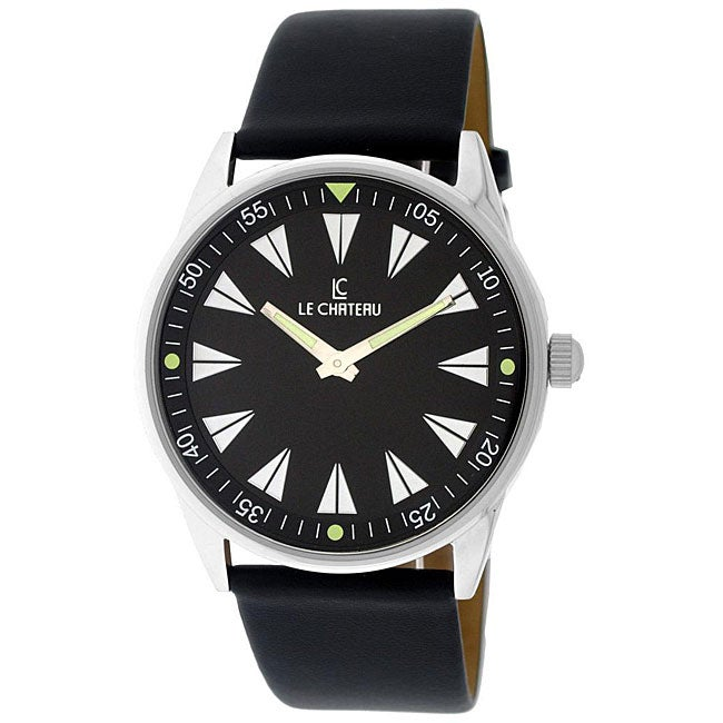 Le Chateau Men's Sport Luminous Hands Black Dial Watch