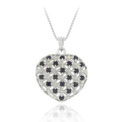 Glitzy Rocks Sterling Silver Sapphire Heart Necklace
