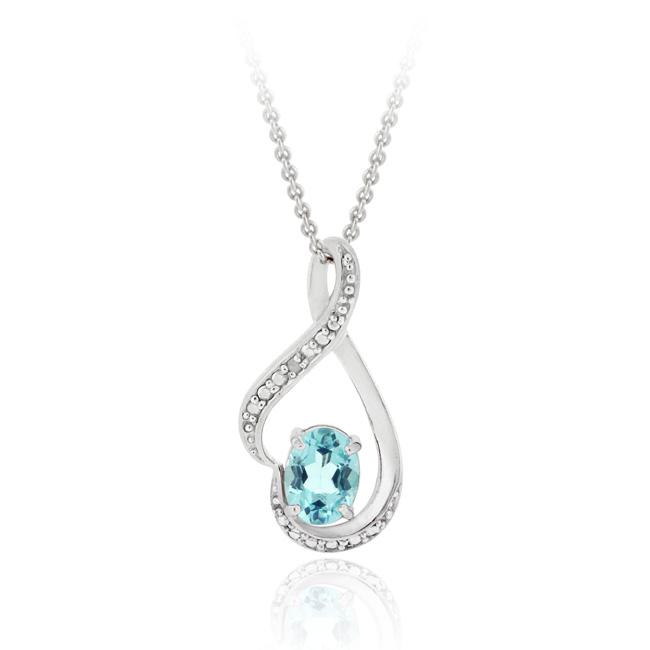 Glitzy Rocks Sterling Silver Blue Topaz/ Diamond Accent Heart Necklace