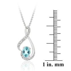 Glitzy Rocks Sterling Silver Blue Topaz/ Diamond Accent Heart Necklace - Thumbnail 2