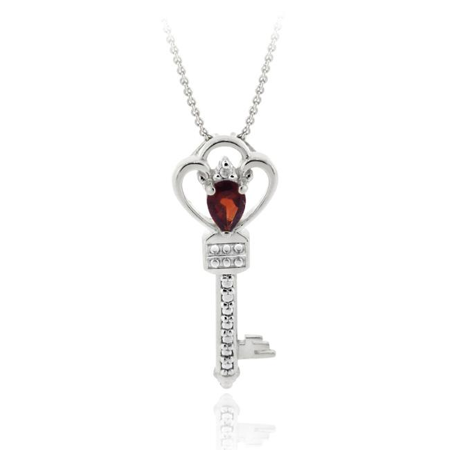 Glitzy Rocks Sterling Silver Garnet and Diamond Accent Key Necklace