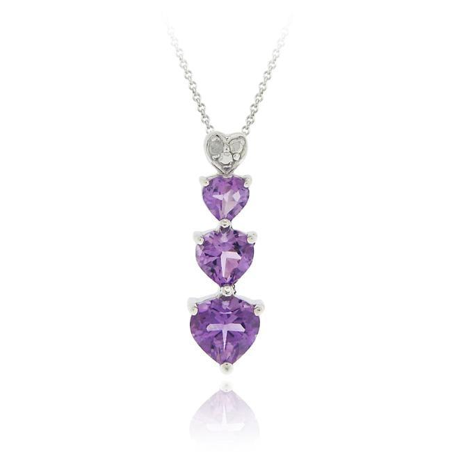 b29fa7081682b Glitzy Rocks Sterling Silver Amethyst and Diamond Accent Heart Necklace