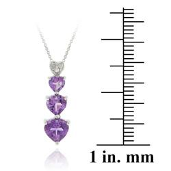 Glitzy Rocks Sterling Silver Amethyst and Diamond Accent Heart Necklace - Thumbnail 2