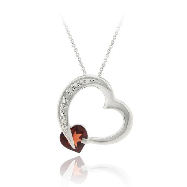 Shop glitzy rocks sterling silver diamond accent and garnet heart glitzy rocks sterling silver diamond accent and garnet heart pendant aloadofball Gallery