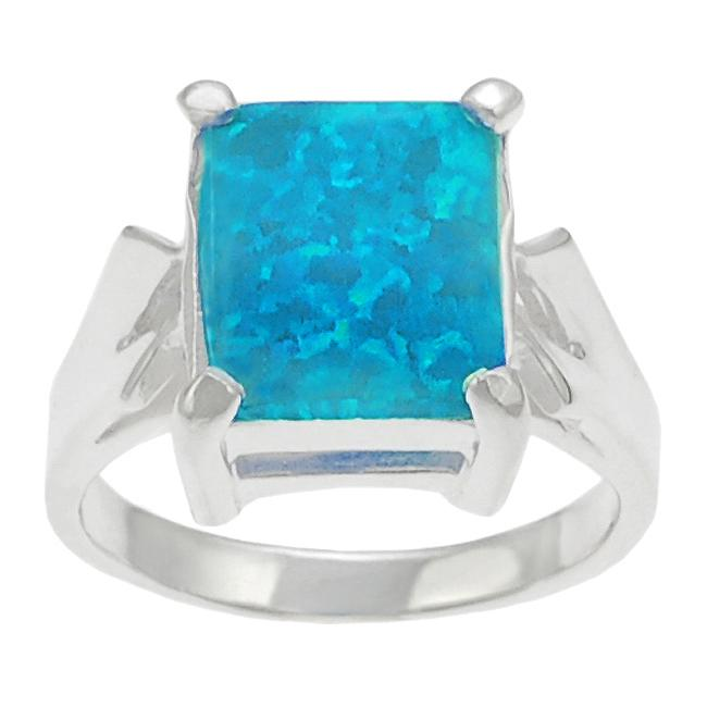 Journee Sterling Silver Blue Opal Ring