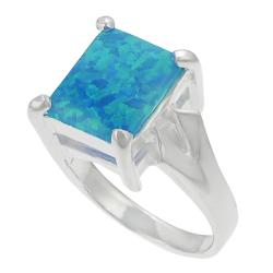Journee Sterling Silver Blue Opal Ring - Thumbnail 1
