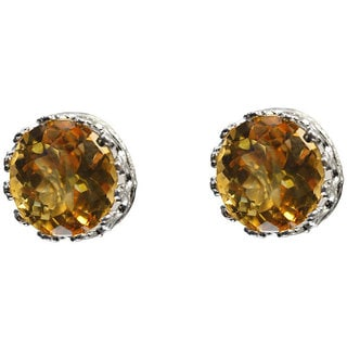 Junior Jewels Sterling Silver Crown-set 4-mm Round-cut Citrine Stud Earrings