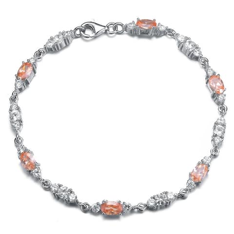 Collette Z Sterling Silver Blue and Clear Cubic Zirconia Trio Link Bracelet