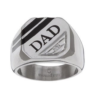 Shop Stainless Steel Dad Diamond Accent Ring On Sale