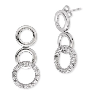 Collette Z Sterling-Silver Cubic-Zirconia High-Polish Circle Drop Earrings