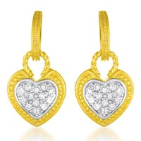 Collette Z Sterling Silver and Yellow Gold Vermeil Clear CZ Heart Earrings