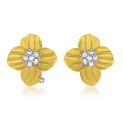 Collette Z Vermeil Clear Cubic Zirconia Flower Earrings