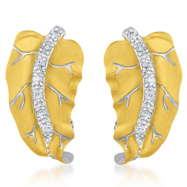 Collette Z Vermeil and Sterling Silver Cubic Zirconia Leaf Earrings
