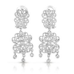 Collette Z Sterling Silver Cubic Zirconia Lacy Flower Design Drop Earrings