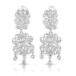 Collette Z Sterling Silver Cubic Zirconia Lacy Flower Design Drop Earrings