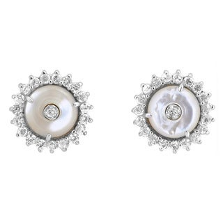 Collette Z Sterling Silver Cubic Zirconia and Mother of Pearl Earrings