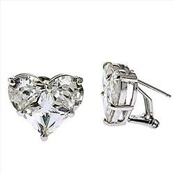 Collette Z Sterling Silver Clear Cubic Zirconia Heart Earrings