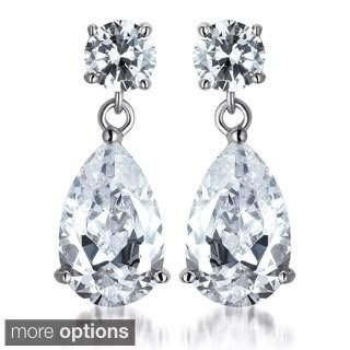 Collette Z Sterling Silver Pear-cut Cubic Zirconia Drop Earrings