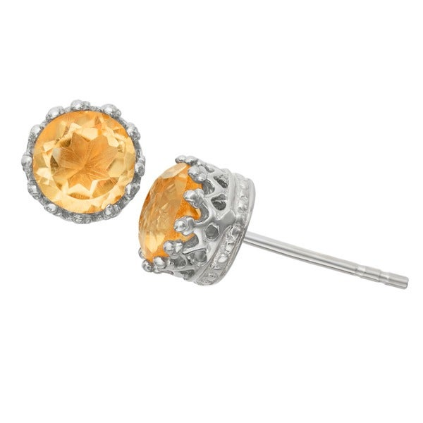 Gioelli Sterling Silver Crown-set 8-mm Round-cut Citrine Stud Earrings