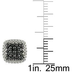 Miadora 10k White Gold 1/2ct TDW Black Diamond Halo Earrings - Thumbnail 2