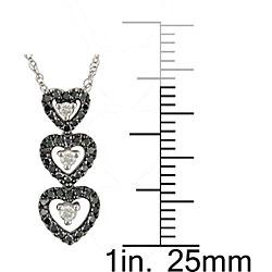Miadora 10k White Gold 1/4ct TDW Diamond Heart Necklace - Thumbnail 2