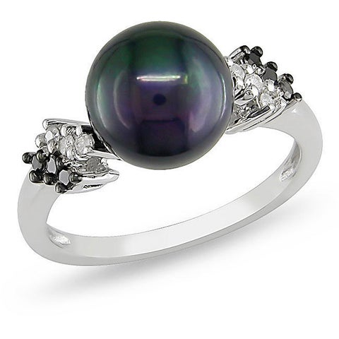 Miadora Silver Black Pearl and 1/8ct TDW Diamond Ring (H-I, I3) (9-9.5 mm)