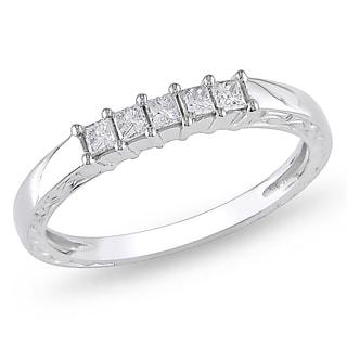 Miadora 10k White Gold 1/4ct TDW Princess Diamond Ring (H-I, I2-I3)