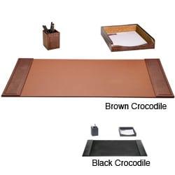 bonded leather desk set 6 piece pink. Dacasso 3-piece Crocodile Embossed Leather Desk Set Bonded 6 Piece Pink