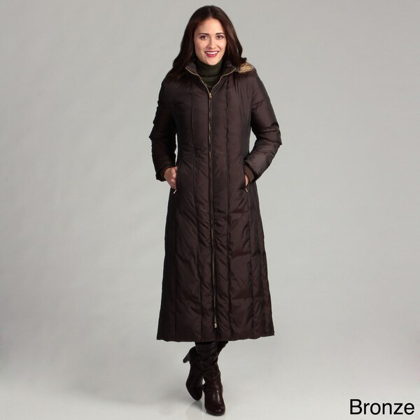 Anne Klein Women's Long Down Piped Coat