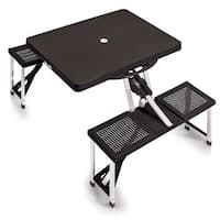 Picnic Time Black Folding Table with Seats