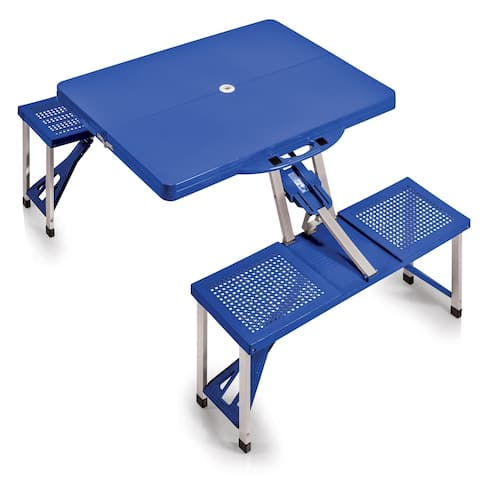 Picnic Time Blue Folding Table with Seats