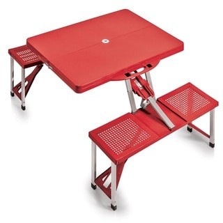 Picnic Time Red Folding Table with Seats