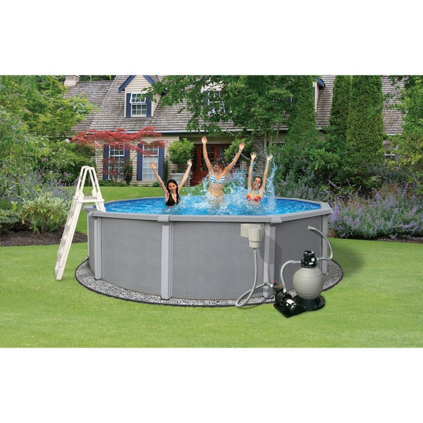 Zanzibar Above Ground Hybrid 24 Foot Round Swimming Pool Package Free Shipping Today