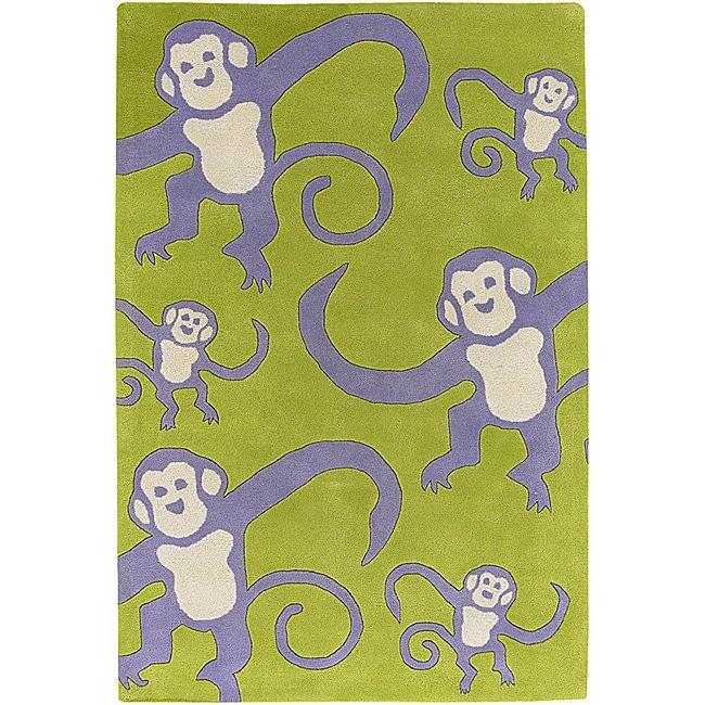 Artist's Loom Hand-tufted Kids Animal Print Wool Rug - 7'9 x 10'6