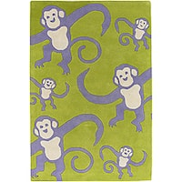 Artist's Loom Hand-tufted Kids Animal Print Wool Rug - 7'9 x 10'6