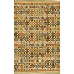 Artist's Loom Handmade Flatweave Country Oriental Wool Rug - 5'x7'6 - Thumbnail 0